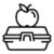 Apple on lunchbox icon, outline style